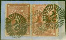 Queensland 1871 6d Red-Brown SGF17 Good Used x 2 on Piece