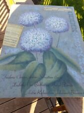 "ORIGINAL DESIGN CANVAS ~ 'HYDRANGEA FLOWERS & MUSIC' by JOAN COLE ~~ 24"" X 18"""