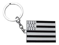Porte-clés, bijou de sac motif drapeau breton, bretagne en acier. réf C3.