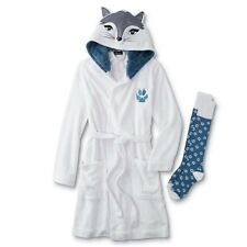 Fox Hooded Robe Womens Plus Size 1X Fleece Critter Hoodie White/Blue 20 XL NEW
