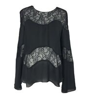 Zara Medium 10 12 Black Lace Sheer Panel Blouse Top Longsleeve Gothic Victorian