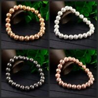 8mm Fashion Natural Round Gold Plated Lava Beads Stretchable Bracelets Women Men