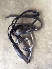 """Stirrup Irons 4.1/2"""" With Treads And Heavy Brown English Leather Stirrup Leather"""