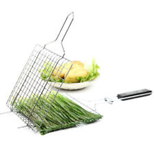 BBQ Square Stainless Steel Steak Fish Chops Cooking Grill Grid Grate Basket