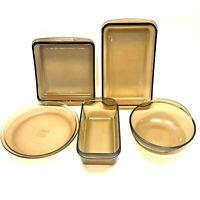 Lot of 5 Vintage Pyrex Amber Smoke Pie Loaf Casserole 023, 209, 213, 222, 232-N