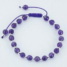 Shamballa bracelet amethyst gemstone & sterling silver spheres purple cotton