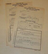 2 anciens feuillets : Demande de LOCATION de PLACES S.N.C.F. - Fin Années 50'