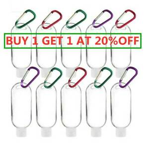 Empty Plastic Bottles 50ml Clear Small Travel Container for Liquid with Keyring.