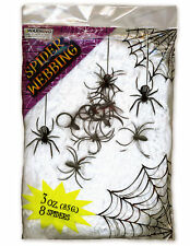 Halloween Webbing 8 Spiders Cobweb XL 85g Scene Decoration