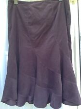 MONSOON Aubergine Deep Purple Thin Corduroy 100% Cotton Skirt 18 Panels Work