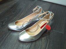 PRIMARK -Gorgeous metalic sliver ankle strap court shoe size  3 NEW