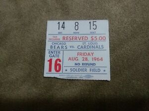 Vintage 1964 Chicago bears st Louis Cardinals football ticket stub soldier field