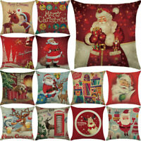 Pillow Christmas Case Santa Cotton Linen Sofa Car Throw Cushion Cover Home Decor