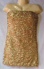 Junior's Gold Sequined Strapless Dress Size Medium