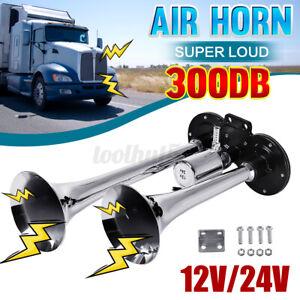 300db Dual Trumpet Train 12V Air Horn Truck Train Boat RV Super Loud Speaker