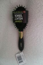 Conair Velvet Touch Oval Cushion Hair Brush Detangles Black New Travel