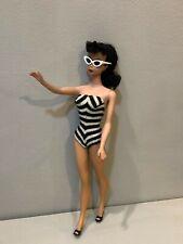 Vintage Mattel 60's Barbie Doll #4 Brunette Ponytail Swimsuit Shoes Sunglasses