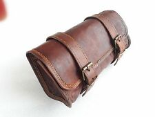 Cool Brown Goat Leather Tool Bag Roll Paisley Design Motorbike Motorcycle Bag