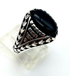 Mens 925 Sterling Silver Ring Size 9.5 Handmade BLACK ONYX