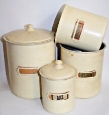 Retro Chubby Chic Flour Food Feed Biscuits Rise Vintage Aluminium 4 Containers