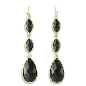 NEW Black Teardrop & Marquise Resin Triple Tier Drip Drop Earrings in Goldtone