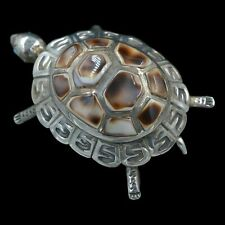 Signed M YAZZO  Navajo Native American Sterling Silver Turtle with Shell Pin