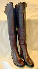 LK Bennett Oxblood Ankle-Zip Knee High Heeled Boots - Italian Size 37