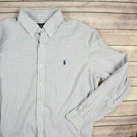 RALPH LAUREN Men's Long Sleeve Button Front Shirt L Large Green Pink Blue Check