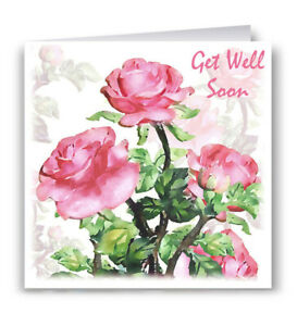 Pack of 6 Get Well Soon Greeting Cards - Flowers Pink Roses