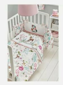 Disney Bambi Pink white Cot & Cot Bed Bedding 4tog Quilt Toddler 120 X 100cm