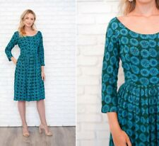 Vintage 50s 60s Blue Party Dress Floral Snowflake Dress Full Knit Green Scoop M