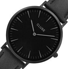 NEW $99 CLUSE La Bohème Black Leather Stainless Steel Women's Watch CL18501