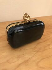 McQueen Skull Clutch Patent Black Leather