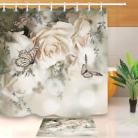 White Rose and Butterfly Fabric Shower Curtain Set Bathroom Mat Decor Hooks
