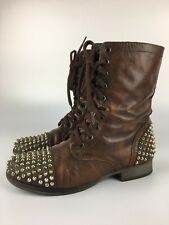 Steve Madden Tarnney Size 7.5 Brown Boot Gold Studded Spike Combat Lace Up