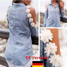 Damen Blumen Knopf Schulterfrei Locker Bluse Shirt Oberteil Tops Hemd Freizeit