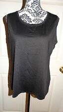WOMENS DANA BUCHMAN SLEEVELESS CASUAL BLOUSE SIZE LARGE COLOR BLACK 92% NYLON