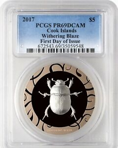2017 Cook Is Egypt Withering Blaze Scarab 1 OZ Silver $5-mintage 499 PCGS PR69