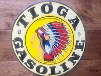 "Vintage Tioga Gasoline Heavy Porcelain Sign 12"" Gas & Oil Sign"