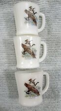 3 Fire King Canada Goose white glass vintage D handle coffee cups mugs FREE S/H