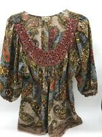 Emerald Ladies Boho Peasant Blouse With Embroidered Neckline Sequins Size L