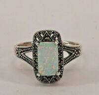 9927869 925er Silber Opal-Markasit-Ring  Gr.55 Vintage