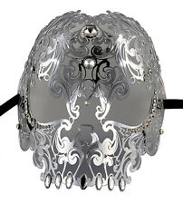 Demon Skull Laser Cut Silver Metal Masquerade Mask With Clear Rhinestones