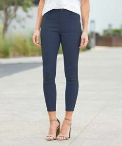Navy Skinny Faux-Button Ankle Jeggings Plus Sz- 2X (US 18-20)