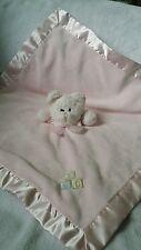 "The Bearington Collection Pink Teddy Bear Security Blankey Lovey ABC Rattle 19"""