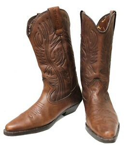 Spain Made Arizona Brown Leather Rockabilly Western Cowboy Boots Women's Size 7