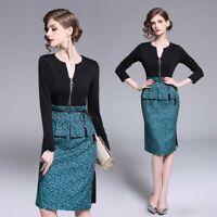 Women Casual Dresses Long Sleeve Office Wear Bodycon Midi Skirt Evening Dress