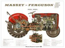 Vintage Massey Ferguson Tractor 35 65 CUTAWAY SALES BROCHURE/POSTER ADVERT A3