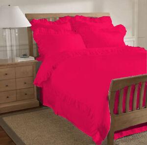 100% Egyptian Cotton 1000-TC 3 piece Edge Ruffle Duvet Cover Set Twin All Colors