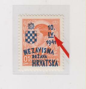CROATIA,WWII ,0.50  din,1941,jubilary stamp ,MNH,nice plate error,position 48